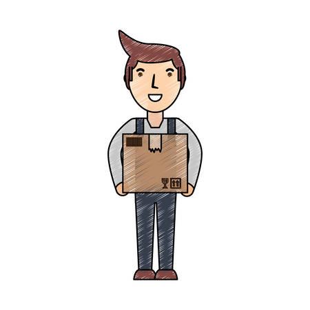 Deliver courier cartoon icon vector illustration graphic design Illustration