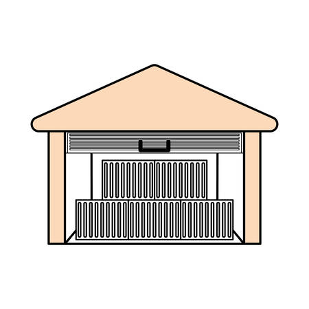 articles: Delivery warehouse building icon vector illustration graphic design Illustration
