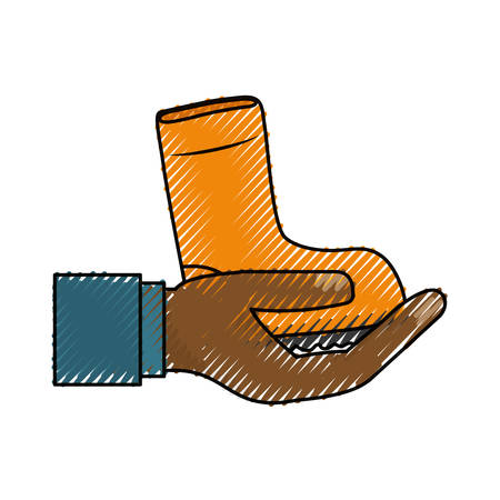 dangerous work: Boot indutrial security icon vector illustration graphic design