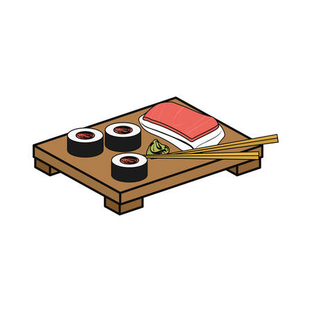 Sushi delicious japanese food icon vector illustration graphic design Illustration