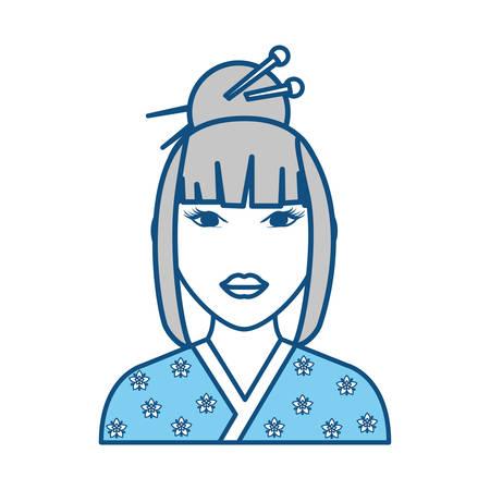 Geisha japanese woman icon vector illustration graphic design