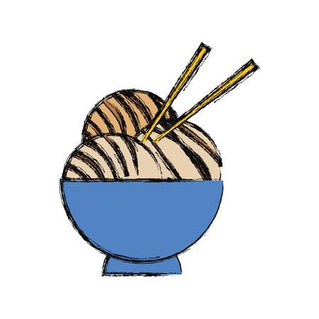 Japanese food with chopsticks icon vector illustration graphic design Illustration