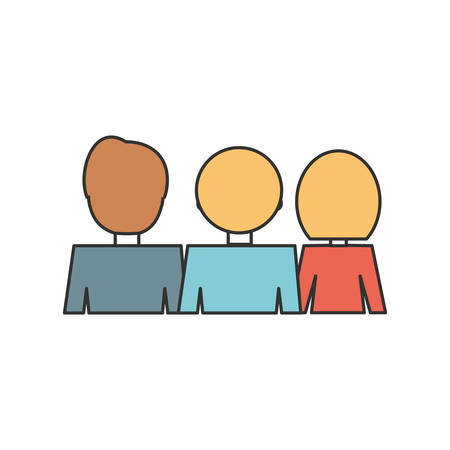 People back view cartoon over white background vector illustration