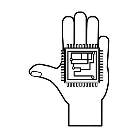 microcircuit: Microchip integrated circuit icon vector illustration graphic design