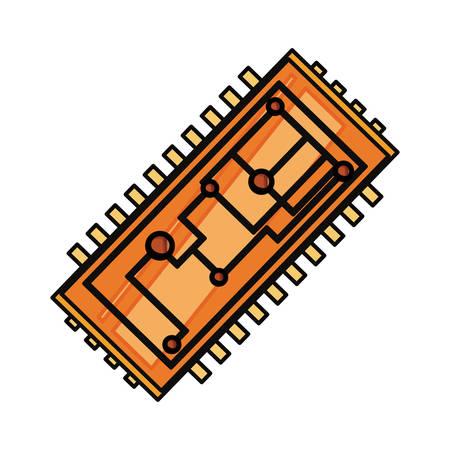 Microchip integrated circuit icon vector illustration graphic design