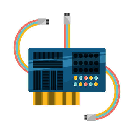 memory card: Microchip integrated circuit icon vector illustration graphic design