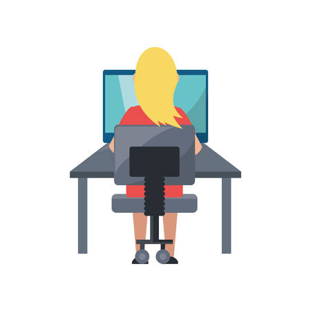 woman laptop: Young woman working on computer icon vector illustration graphic design