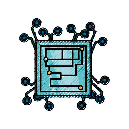 Microchip integrated circuit icon vector illustration graphic design
