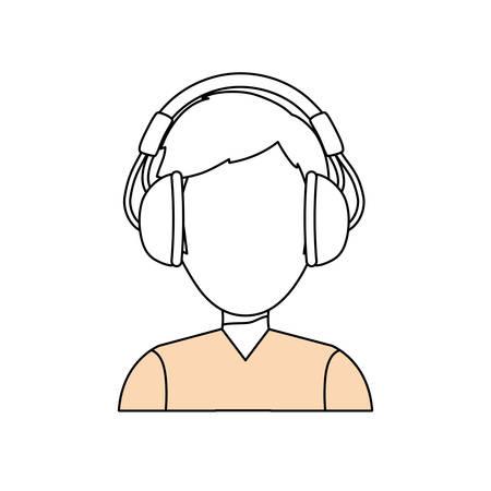 Man with headphones icon vector illustration graphic design