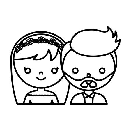 romantic date: wedding couple icon over white background vector illustration