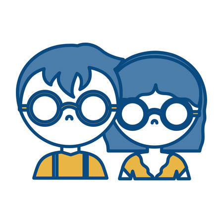 couple with glasses icon over white background vector illustration