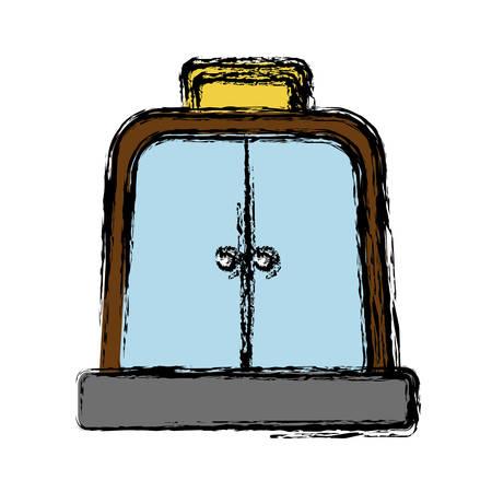 doorknob: elevator door icon over white background vector illustration