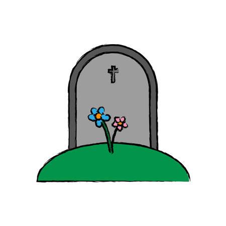 granite: gravestone icon over white background vector illustration