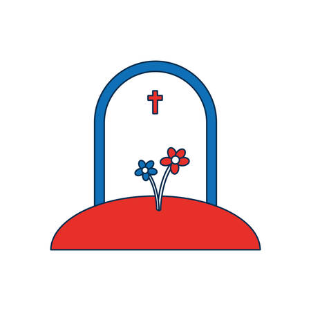 granite: Cartoon illustration of gravestone icon over white background vector illustration Illustration