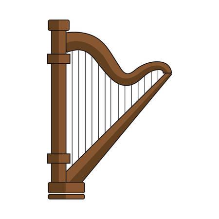 harp icon over white background vector illustration