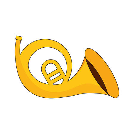 horn trumpet icon over white background vector illustration