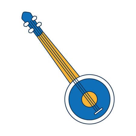 banjo instrument icon over white background vector illustration