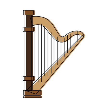 harp icon over white background vector illustration