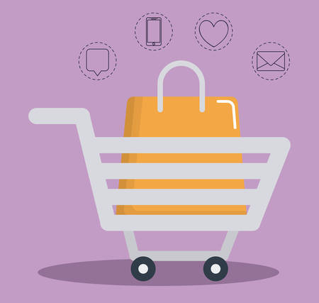 information medium: shopping cart and digital marketing related  icons over purple background colorful design vector illustration