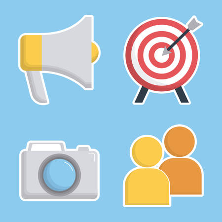 digital marketing related icons over blue background colorful design vector illustration