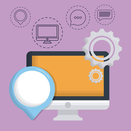 computer with digital marketing related icons over purple background colorful design vector illustration Illustration