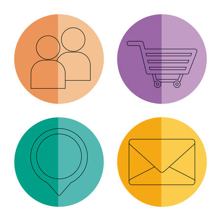 digital marketing related icons over colorful circles and white background  vector illustration Illustration