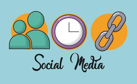 social media related icons over blue background colorful design vector illustration Illustration