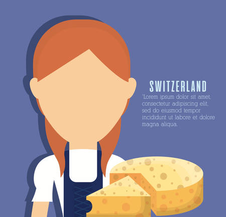 Swiss woman and cheese icon over blue background colorful design vector illustration