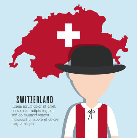 swiss man and swiss country map icon over blue background colorful design vector illustration