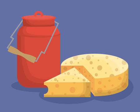 bottle of milk and swiss cheese icon over blue background colorful design vector illustration