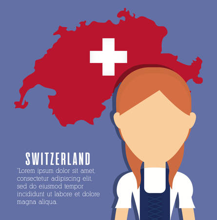 swiss woman and swiss country map icon over blue background colorful design vector illustration