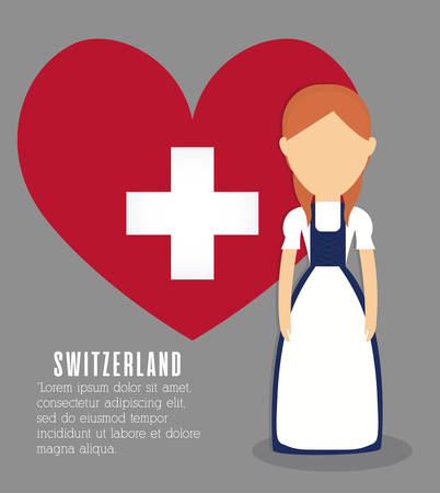 swiss woman and heart icon over gray background colorful design vector illustration
