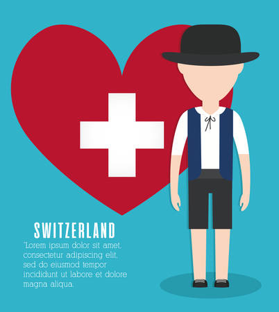 swiss man and heart icon over blue background colorful design vector illustration Illustration