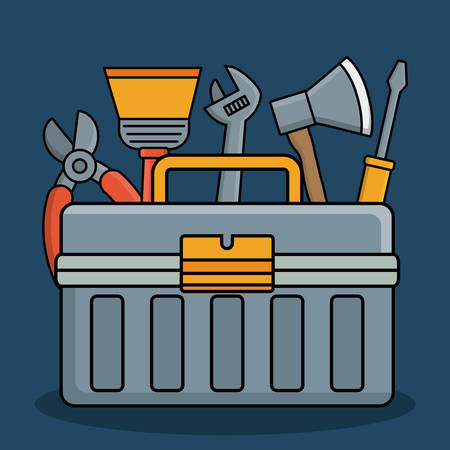 tool box and repair tools icon over blue background colorful design vector illustration Illustration