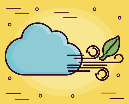 clouds and wind icon over yellow background colorful design vector illustration