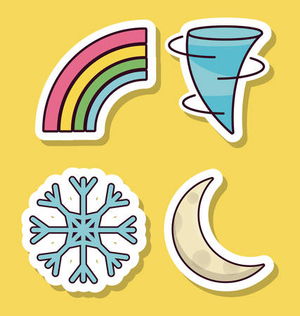 weekly: weather related icons over  and yellow background colorful design vector illustration Illustration