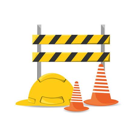 civil construction: flat under construction and helmet vector illustration