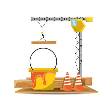 flat uncer construction crane bucket and cone vector illustration Illustration