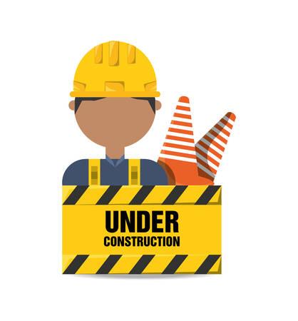 civil construction: worker man under construction concept vector illustration Illustration