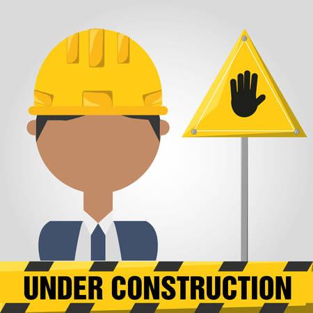 civil construction: archictec man under construction concept vector illustration