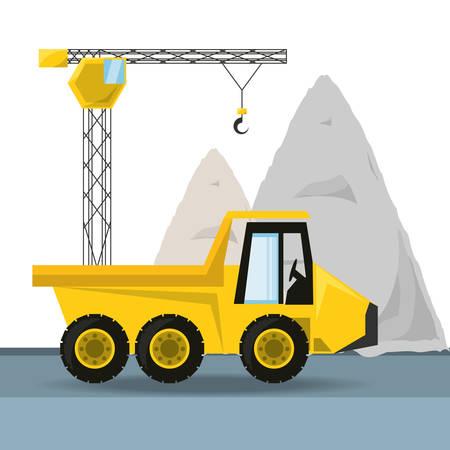 civil construction: dump truck under construction concept vector illustration