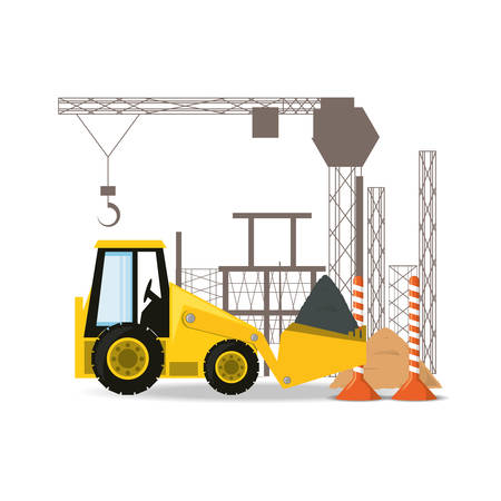 civil construction: front loader under construction concept vector illustration Illustration