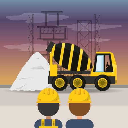 civil construction: concrete mixer under construction concept vector illustration Illustration