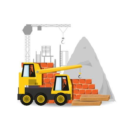 civil construction: crane under construction concept vector illustration design