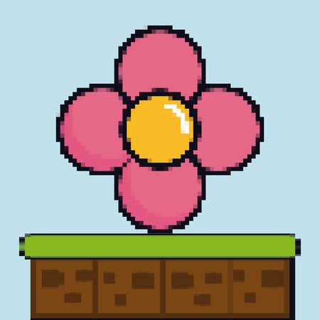 Flower game pixel figure over blue background colorful design vector illustration