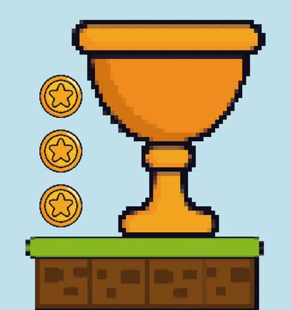 coins and trophy game pixel figure over blue background colorful design vector illustration