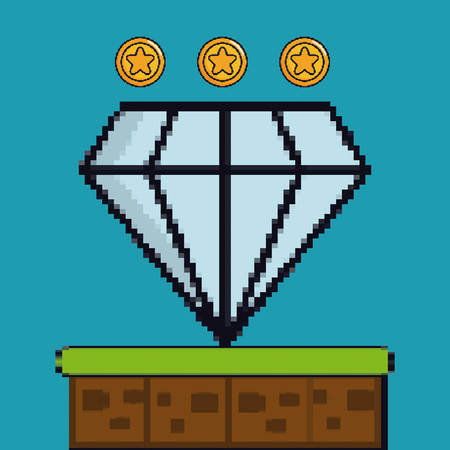 coins and diamond game pixel figure over blue background colorful design vector illustration