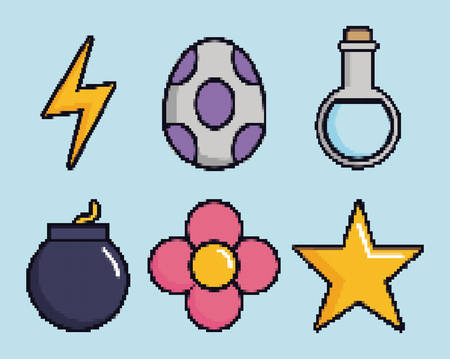 Related icons of retro video games over blue background colorful design vector illustration