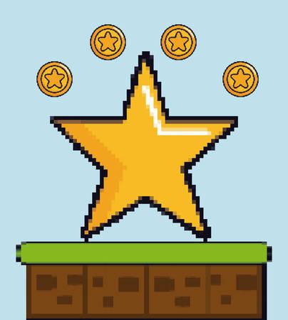 Coins and star game pixel figures over blue background colorful design vector illustration