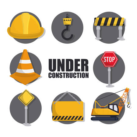 Under construction related icons over white background colorful design vector illustration Vetores